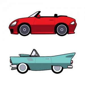 車 イラスト(レトロ風/スポーツカー/オープンカー)