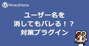 【wordpress】ユーザー名を消してもバレる!?対策プラグイン