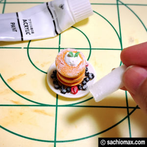 【ミニチュアフード】パンケーキ+フルーツ+お皿+コーヒーの作り方-10