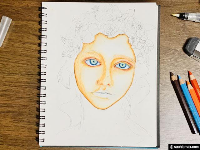 【水彩色鉛筆】ユニウォーターカラーコンパクト12色で描いてみたい-05