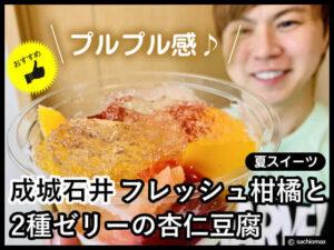【夏スイーツ】成城石井 柑橘と2種ゼリーの杏仁豆腐のプルプル感-00